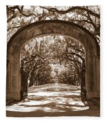 Savannaha Sepia - Wormsloe Plantation Gate Fleece Blanket