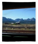 Sawtooth Mountains From Cafe Window Fleece Blanket