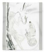 Sax Girl Fleece Blanket