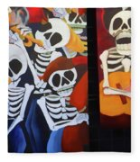 Sax Guitar Music Day Of The Dead  Fleece Blanket