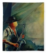 Sax Player Fleece Blanket