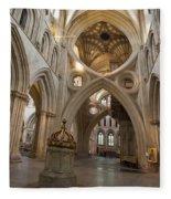 Saxon Baptismal Font Wells Cathedral, Somerset Uk Fleece Blanket