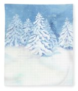 Scandinavian Winter Snowy Trees Hygge Fleece Blanket