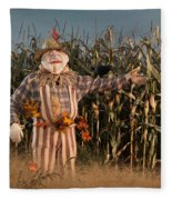 Scarecrow In A Corn Field Fleece Blanket