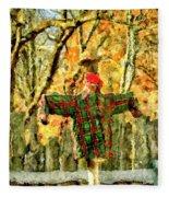 scarecrow in field at Stanhope Waterloo Village Fleece Blanket