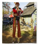 Scarecrow Walking On Stilts Fleece Blanket