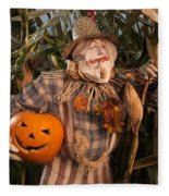 Scarecrow With A Carved Pumpkin  In A Corn Field Fleece Blanket