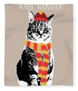 Scarf Weather Cat- Art By Linda Woods Fleece Blanket