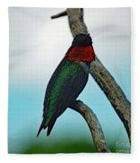 Scarlet Gorget - Ruby-throated Hummingbird Fleece Blanket