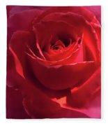 Scarlet Rose Flower Fleece Blanket