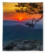Scarlet Sky At Ravens Roost Panorama I Fleece Blanket
