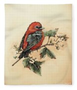 Scarlet Tanager - Vintage Fleece Blanket