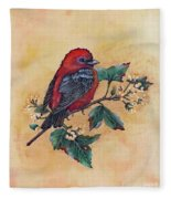 Scarlet Tanager - Acrylic Painting Fleece Blanket