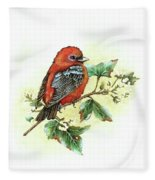 Scarlet Tanager - Summer Season Fleece Blanket