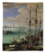 Scene Of A Sea Port Fleece Blanket