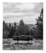 Scenic Bench In Black And White Fleece Blanket