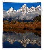 Scenic Teton Fall Reflections Fleece Blanket
