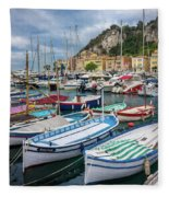 Scenic View Of Castle Hill And Marina In Nice, France Fleece Blanket