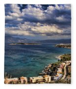 Scenic View Of Eastern Crete Fleece Blanket