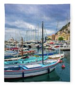 Scenic View Of Historical Marina In Nice, France Fleece Blanket
