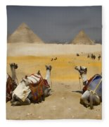 Scenic View Of The Giza Pyramids With Sitting Camels Fleece Blanket