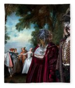Schapendoes Art Canvas Print - Dance Before A Fountain Fleece Blanket
