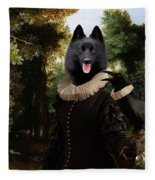 Schipperke Art Canvas Print - Forest Landscape With A Hunter And Noble Lady Fleece Blanket