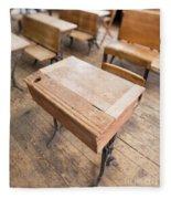 School Desks In A One Room School Building Fleece Blanket