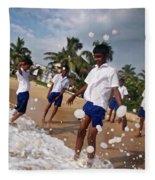 School Trip To Beach IIi Fleece Blanket