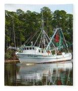 Schrimp Boat On Icw Fleece Blanket