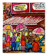 Schwartz's Deli Rainy Day Line-up Umbrella Paintings Montreal Memories April Showers Carole Spandau  Fleece Blanket