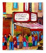 Schwartzs Hebrew Deli Montreal Streetscene Fleece Blanket