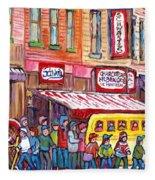 Schwartz's Smoked Meat Deli On The Main Montreal Hockey Art Scenes School Bus Painting C Spandau Art Fleece Blanket
