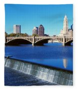Scioto River With Waterfall Fleece Blanket