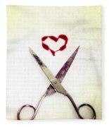 Scissors And Heart Fleece Blanket