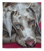 Scooby Weimaraner Pet Portrait Fleece Blanket
