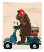 Scooter Bear Fleece Blanket by Bri Buckley