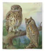 Scops Owl By Thorburn Fleece Blanket