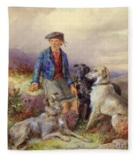 Scottish Boy With Wolfhounds In A Highland Landscape Fleece Blanket