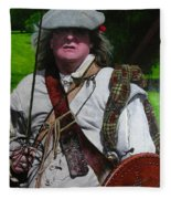 Scottish Soldier Of The Sealed Knot At The Ruthin Seige Re-enactment Fleece Blanket