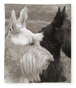 Scottish Terrier Dogs In Sepia Fleece Blanket