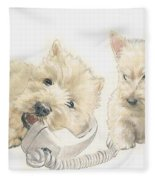 Scottish Terrier Puppies Fleece Blanket