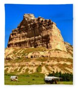 Scotts Bluff National Monument Panorama Fleece Blanket