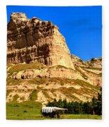 Scotts Bluff National Panoramic Landscape Fleece Blanket