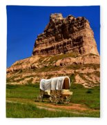 Scotts Bluff Wagon Train Panorama Fleece Blanket