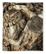 Screech Owl In Cavity Nest Fleece Blanket