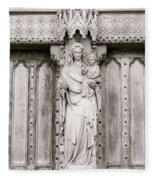 Sculpture Above North Entrance Of Westminster Abbey London Bw Fleece Blanket