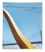 Sculpture By San Francisco Bay Bridge Fleece Blanket