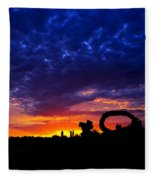 Sculpture By The Sea - Sunset Silhouette By Kaye Menner Fleece Blanket