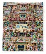 sculptures on Arulmigu Kapaleeswarar Temple, Chennai, Tamil Nadu Fleece Blanket